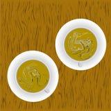 кофейные чашки 2 Пена молока выпивает горячий также вектор иллюстрации притяжки corel Стоковое Изображение RF