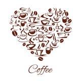 Кофейные чашки плаката сердца кафа кофейни вектора Стоковые Фото