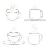 Кофейные чашки с паром эскиз Стоковое фото RF