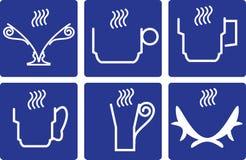 Кофейные чашки - установленные значки стоковое изображение