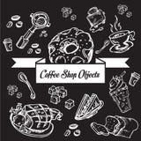 Кофейня возражает линию c Стоковое Изображение RF