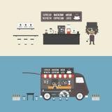 Кофейня и передвижной кофе иллюстрация вектора
