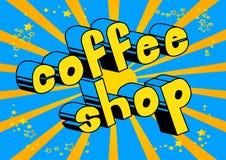 Кофейня - слово стиля комика бесплатная иллюстрация