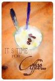 Кофе акварели с цитатой Стоковая Фотография