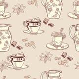 Кофе безшовная предпосылка с кувшином и кофе молока Стоковое фото RF