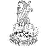 Кофе вектора или чашка чая с абстрактными орнаментами и литерность имеют славный день Стоковое Изображение