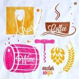 Кофе вина еды и пива акварели питья установленный бесплатная иллюстрация