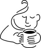 кофе выпивая человека eps иллюстрация вектора