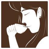 Кофе женщины выпивая Стоковое Изображение