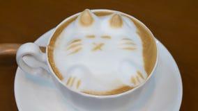 Кофе искусства Latte который дизайн кота 3D Стоковые Изображения