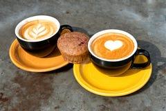 Кофе и булочка mocha молока искусства Стоковое Изображение