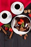 кофе и блинчик с клубниками Стоковые Фото