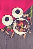 кофе и блинчик с клубниками Стоковые Изображения