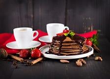 кофе и блинчик с клубниками Стоковые Фотографии RF