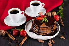 кофе и блинчик с клубниками Стоковое фото RF