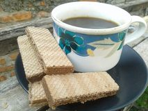 Кофе и вафля стоковое изображение rf