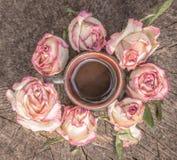Кофе и высушенные розы стоковые изображения rf