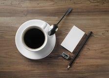 Кофе и канцелярские принадлежности Стоковые Изображения RF
