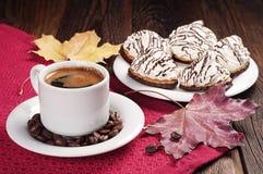Кофе и печенья с сливк Стоковая Фотография RF