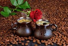 Кофе и роза Стоковое Изображение