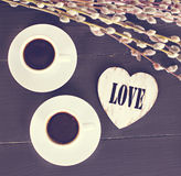 кофе и сердца, карточка на день валентинки, подарок, цветки Стоковое фото RF