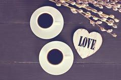 кофе и сердца, карточка на день валентинки, подарок, цветки Стоковое Изображение RF
