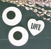 кофе и сердца, карточка на день валентинки, подарок, цветки Стоковая Фотография RF
