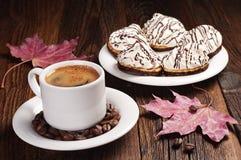 Кофе и сладостные печенья Стоковое Фото