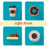 Кофе и торты Установите значков для сети бесплатная иллюстрация