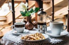 Кофе и waffles с шоколадом Стоковое Изображение RF