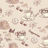 Кофе картина безшовная Стоковое Изображение