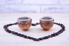 Кофе, который будут сформированным сердцем Стоковая Фотография RF