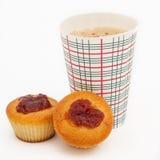 Кофе, который нужно пойти и 2 сладостных булочки Стоковое фото RF