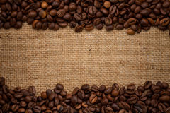 кофе мешковины фасолей предпосылки Стоковые Изображения