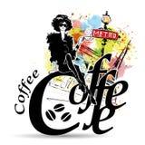 Кофе молодой милой женщины выпивая Стоковое фото RF