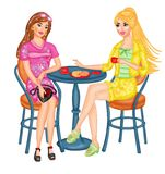 кофе наслаждаясь ladyes молодыми Стоковая Фотография RF