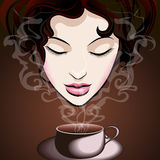 кофе наслаждаясь женщиной иллюстрация штока