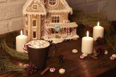Кофе Нового Года небо klaus santa заморозка рождества карточки мешка Стоковое Фото
