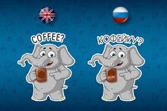 Кофе, предложения питье Слон с кружкой Большой комплект стикеров в английских и русских языках Вектор, шарж иллюстрация штока