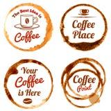 Кофе пятнает комплект логотипов и ярлыков вектора Стоковые Изображения