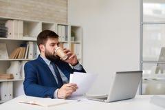 Кофе современного бизнесмена выпивая в офисе Стоковое Изображение RF