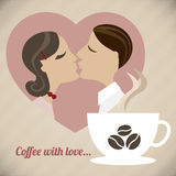 Кофе с влюбленностью иллюстрация штока
