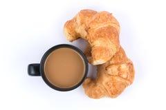 Кофе с круассаном Стоковое Изображение