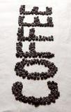 КОФЕ слова от кофейных зерен Стоковое Фото
