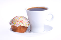Кофе с пирожнем с брызгает Стоковое Изображение