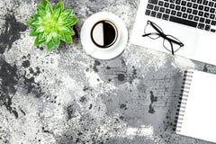 Кофе тетради компьтер-книжки места службы положения квартиры рабочего места succulen Стоковая Фотография RF