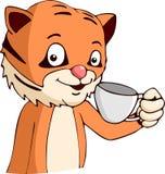 Кофе тигра шаржа выпивая Стоковые Фотографии RF