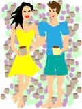 Кофе человека и женщины выпивая Стоковое Фото
