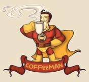 Кофе-человек супергероя Стоковые Изображения