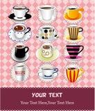кофе шаржа карточки иллюстрация вектора
